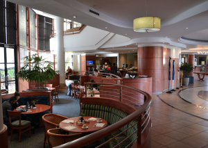 The restaurant area boasts a great amount of seating for their guests that connects up to an internet station for guests to check emails and browse the web!