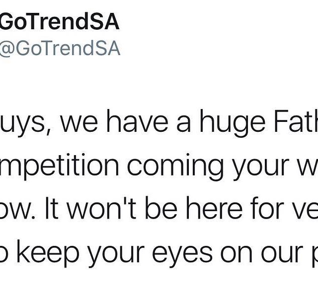 Announcement! Follow us on Twitter GoTrendSA for a big FathersDayhellip