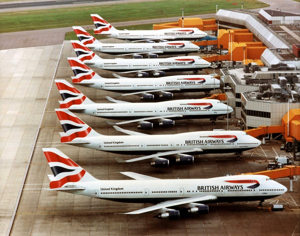 British Airways Boeing 747's at London Heathrow airport showing the new Chatham Dockyard tailfin design Credit: NewsCast www.newscast.co.uk +44 (0)20 7608 1000 No archiving